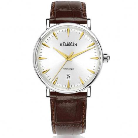 Montre Herbelin Inspiration  Automatique Cadran Argent Bracelet Cuir - 1647/T11MA