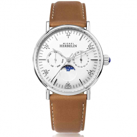 Montre Herbelin Inspiration  Quartz Cadran Blanc Bracelet Cuir - 12747/AP11GO