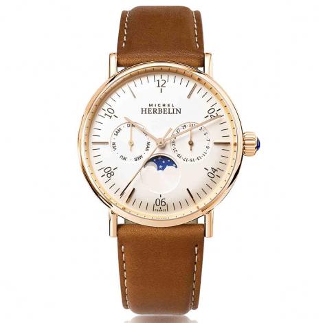 Montre Herbelin Inspiration  Quartz Cadran Blanc Bracelet Cuir - 12747/PR11GO