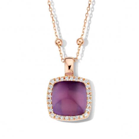 Pendentif améthyste sur nacre et diamants One More  - Pantelleria - 062373BN
