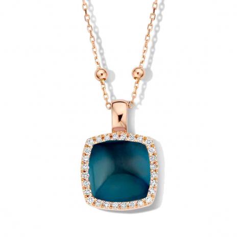 Pendentif avec topaze LB sur nacre et diamants One More  - Pantelleria - 0623731N