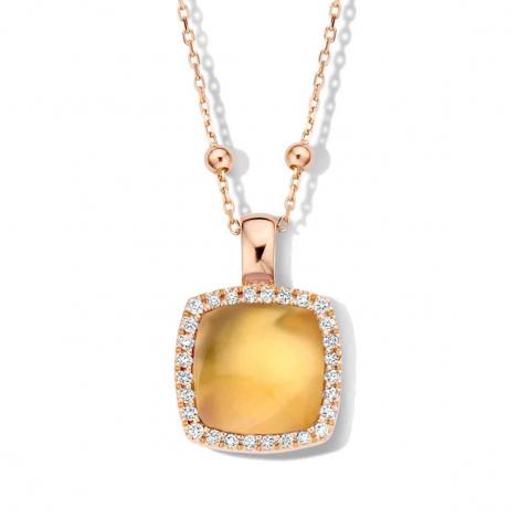 Pendentif citrine sur nacre et diamants One More  - Pantelleria - 062373JN
