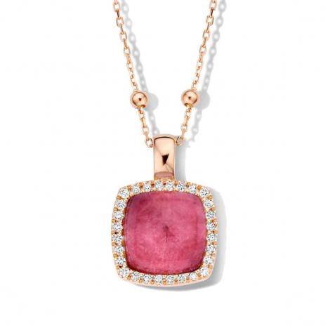 Pendentif cristal de roche sur rubis et diamants One More  - Pantelleria - 062373NR