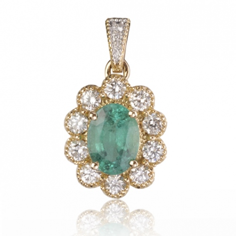 Pendentif émeraude diamant Marguerite - PE4458-E