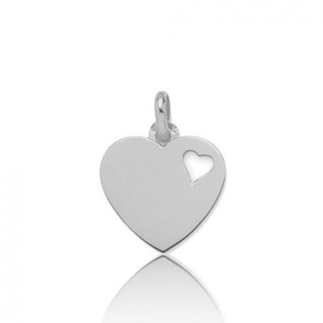 Pendentif or blanc coeur