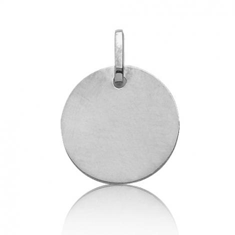 Pendentif or blanc rond Or Blanc Caresse - V5G