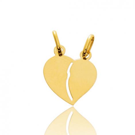 Pendentif or jaune coeur avec double bélière