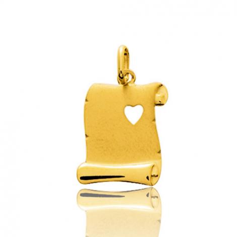 Pendentif or jaune parchemin avec cœur
