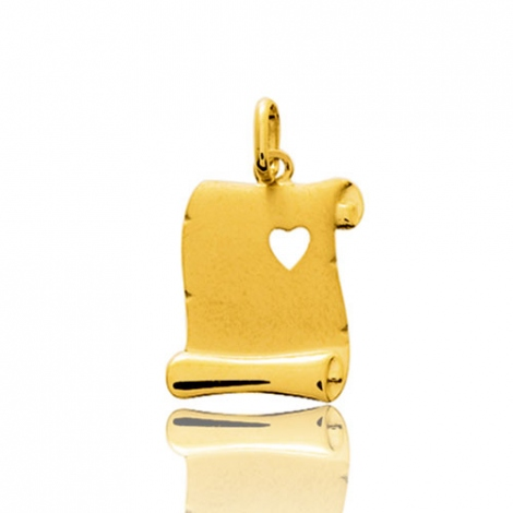 Pendentif or jaune parchemin avec cœur  Or Jaune Adrienne - 2916.5
