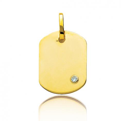 Pendentif or jaune rectangulaire et diamant Or Jaune Violette - T3B
