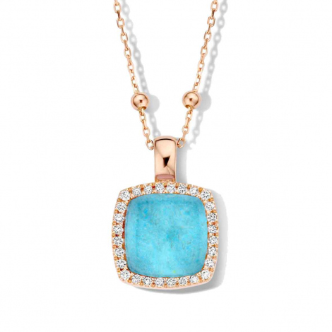 Pendentif Pantelleria cristal de roche+amazonite et diamants One More  - Pantelleria - 062373Y2