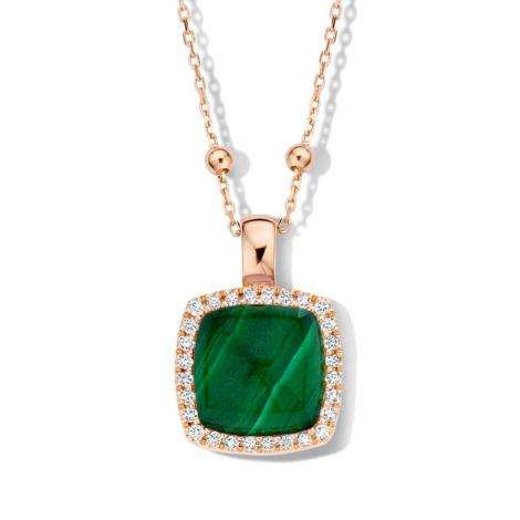 Pendentif Pantelleria cristal de roche sur malachite et diamants One More  - Pantelleria - 062373ND
