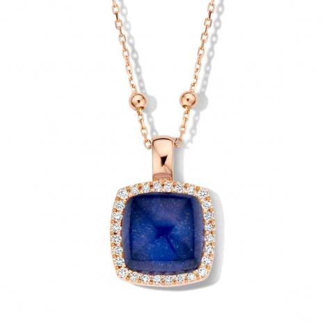 Pendentif Pantelleria cristal de roche sur sodalite et diamants One More  - Pantelleria - 062373NS