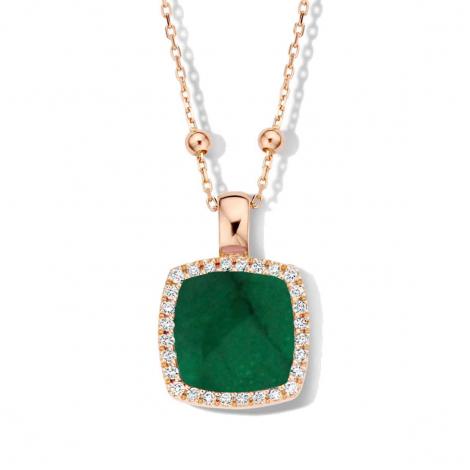 Pendentif Pantelleria quartz et éméraude sur nacre et diamants One More  - Pantelleria - 062373E