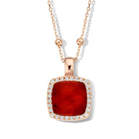 Pendentif quartz et rubis sur nacre et diamants One More  - Pantelleria - 062373R2