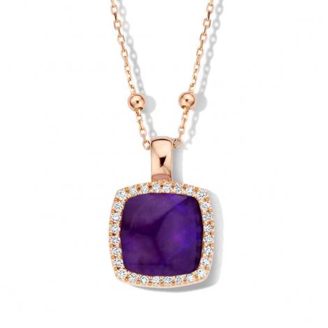 Pendentif quartz et sugilite sur nacre et diamants One More  - Pantelleria - 062373B1