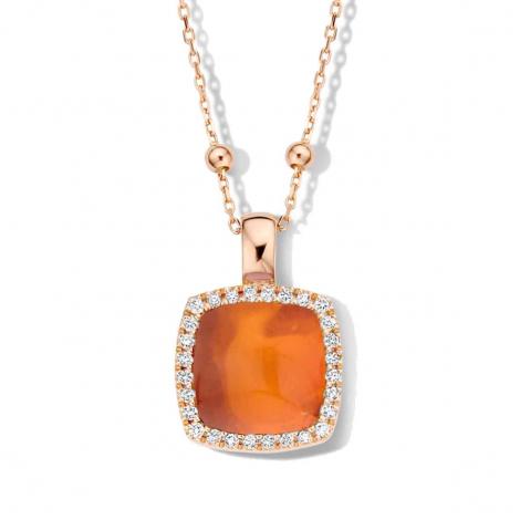 Pendentif quartz sur agate orange et diamantss One More  - Pantelleria - 062373H1