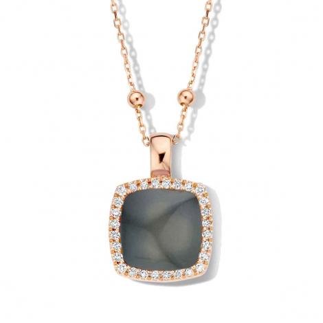 Pendentif quartz sur obsidienne arc en ciel et diamants One More  - Pantelleria - 062373L1
