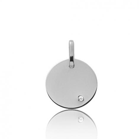 Pendentif rond or blanc et diamant Or Blanc Marylène - V6BG