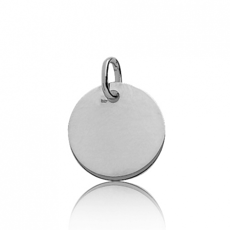 Pendentif rond or blanc Or Blanc Charme - 661076
