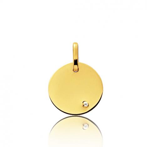 Pendentif rond or jaune et diamant Or Jaune Krystale - 660099