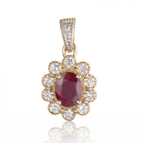 Pendentif rubis diamant Romantique - PE4457-R