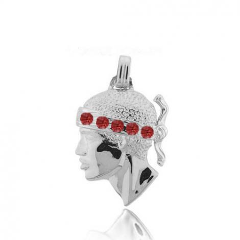 Pendentif tête de Maure en or blanc et rubis Or Blanc Delphes - PT2GR