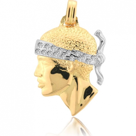 Pendentif tête de Maure serti de diamants Or Jaune Athéna - PT4DTS