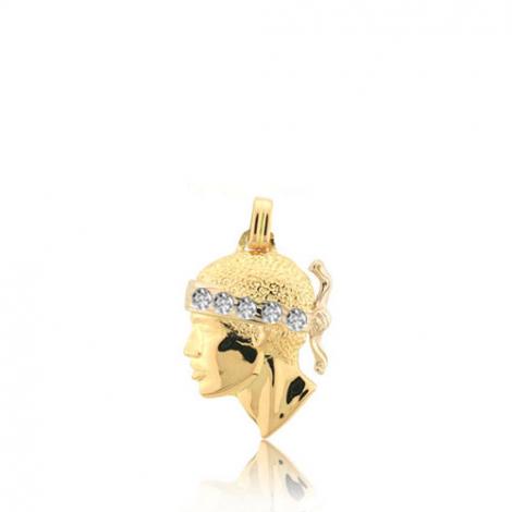 Pendentif tête de Maure serti de diamants Or Jaune Clarisse - PT12DTS