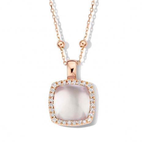Pendentif topaze blanche sur nacre et diamants One More  - Pantelleria - 062373NN