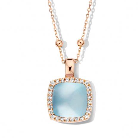 Pendentif topaze SWB sur nacre et diamants One More  - Pantelleria - 0623732N