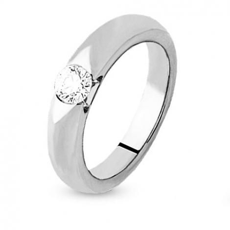 Solitaire or blanc diamant serti demi clos 0.25 ct Katerina - 4S1004