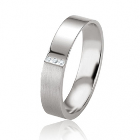 Alliance argent diamant large de 4.5 mm Ariella - 08083