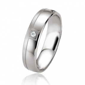 Alliance argent diamant large de 5 mm Kimberley - 08089