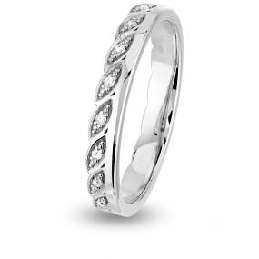 Alliance diamant Demi Tour Together Epi Platine 950 - 0.09 ct - Moorea