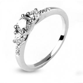 Bague diamant trilogie or blanc 0.65 ct - Flore - 12436-0.65