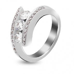 Bague or blanc et diamant 1.02 ct Sol�na
