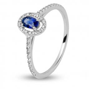 245e60efdd4 Bague saphir bleu en Or Blanc diamant -R8447FMPWAY0L