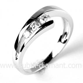 Bague trilogie diamant or blanc 0.24 ct H�m�ra