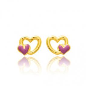 Boucles d'oreilles Cœur Or Jaune Laélia - 9K8020
