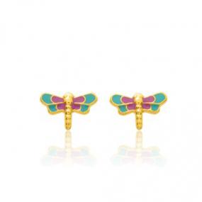 Boucles d'oreilles Libellule Or Jaune Esha