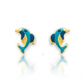 Boucles d'oreilles Dauphin Or Jaune Delphine