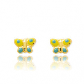 Boucles d'oreilles Papillon Or Jaune D�licatesse