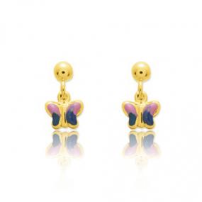 Boucles d'oreilles Papillon Or Jaune Alice