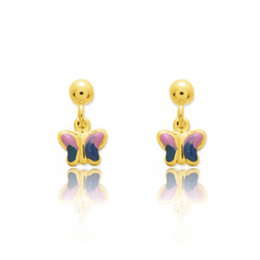 Boucles d'oreilles Papillon Or Jaune Alice