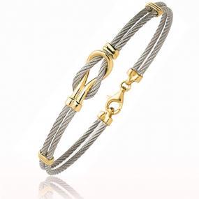 Bracelet Cable acier et or 18 cm Vanira - 6202PM