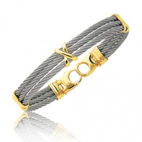Bracelet Cable acier et or 21 cm Axelle - 6254GM