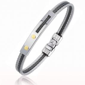 Bracelet Cable acier et or 21 cm Monica - 6275