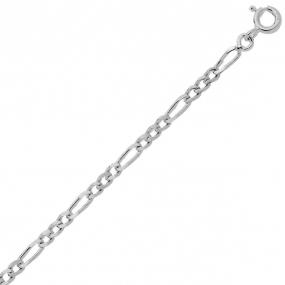 Bracelet en or blanc 9 carats maille Alternée 1.4mm - 0.9g Anya