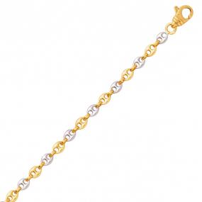 Bracelet en or Grain de Café 3.2 mm bicolore - 4.25g Barbara